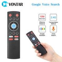 Controle de voz Controle Remoto Air Mouse Sem Fio 2.4G Microfone Gyros IR Aprendizagem Para Android CAIXA de TV Do Google Youtube Netflix PK G10 G20S