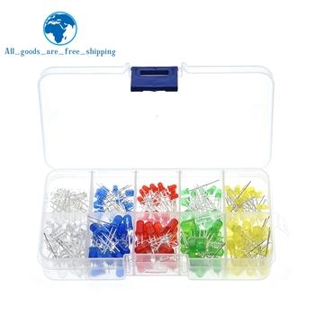 TZT 200 sztuk partia 3MM 5MM zestaw Led z pudełkiem mieszane kolor czerwony zielony żółty niebieski biały dioda elektroluminescencyjna asortyment 20 sztuk każdy nowy tanie i dobre opinie CN (pochodzenie) Przez otwór
