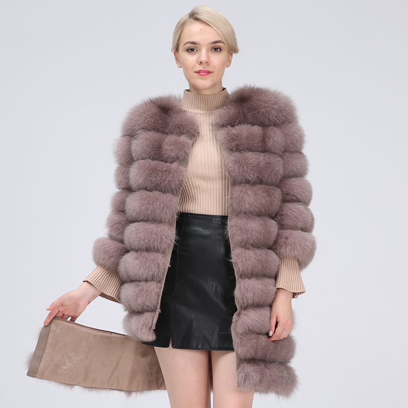 Natural Fur Coat Women Real Fur Coat Long Style Fox Fur Women's Fur Coats Natural Fur Winter Jacket Women Detachable New 2019