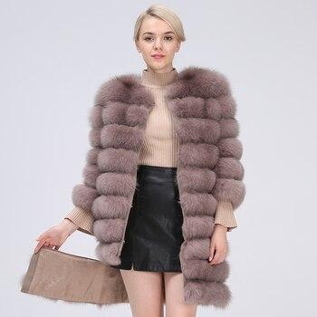 цена на Natural Fur Coat Women Real Fur Coat Long Style Fox Fur Women's Fur Coats Natural Fur winter Jacket Women Detachable New 2019