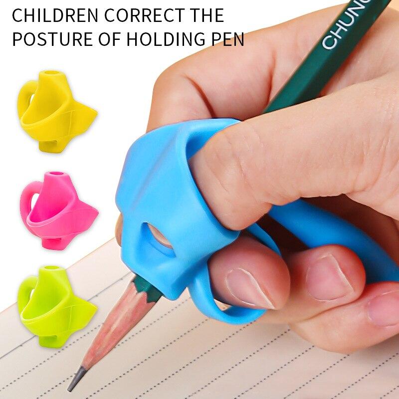 Trois/cinq doigts Silicone porte-stylo aide à lécriture débutant écriture fournitures pour enfants pouce Correction Grip formateur