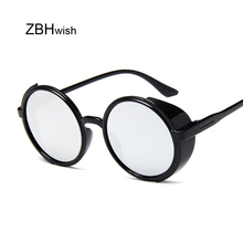 Retro Round Steampunk Sunglasses Women Side Shield Goggles P