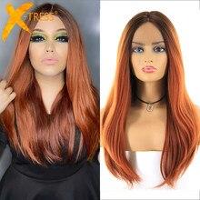 X-TRESS avant de lacet perruques de cheveux synthétiques pour les femmes racines sombres Auburn Orange Blonde 613 Ombre couleur droite perruque de dentelle partie centrale