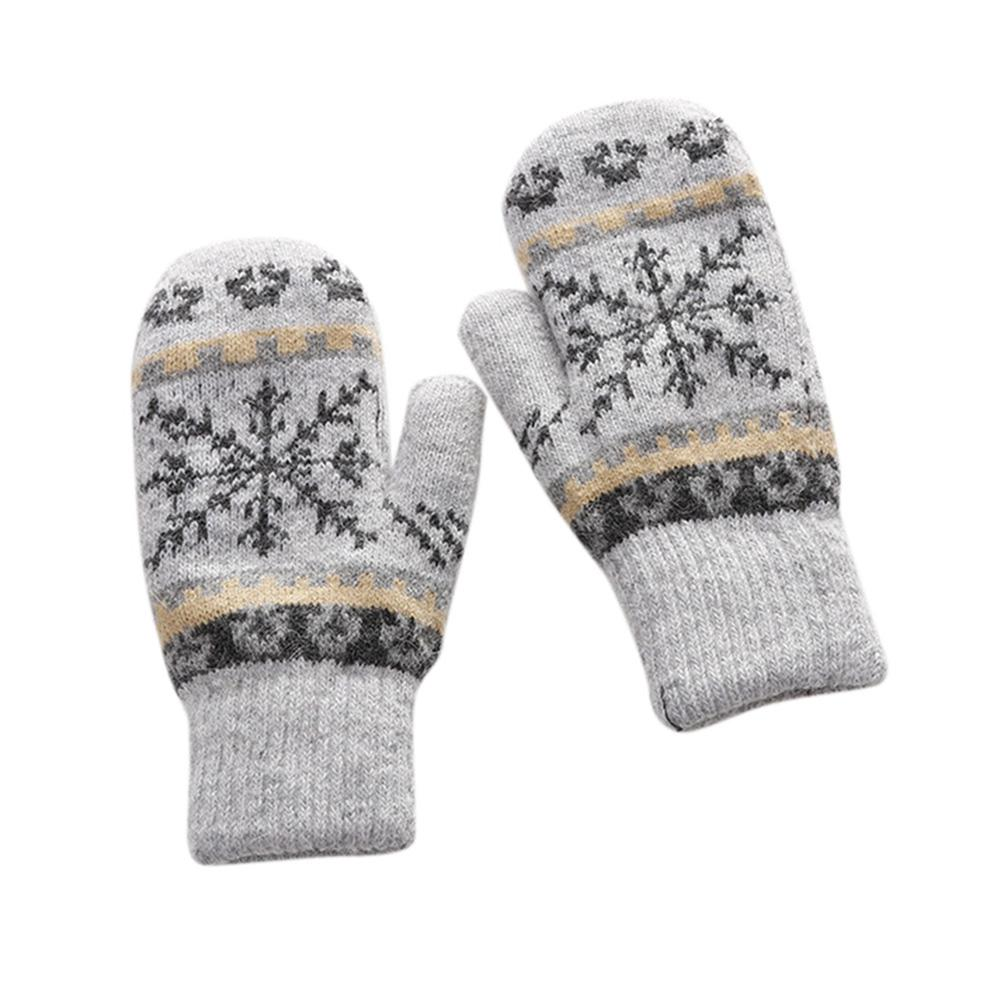Christmas Women Gloves Winter Knitted Warm Gloves Delicate Pattern Windproof Gloves Mittens With Fleece Liner