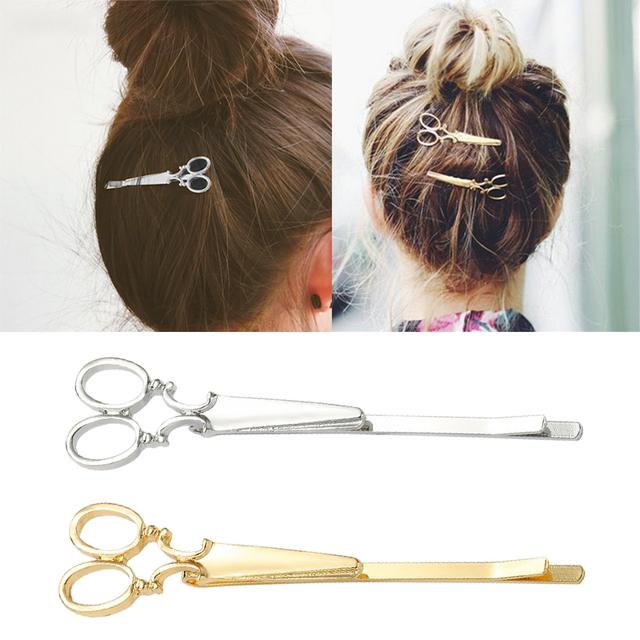 2Pcs scissors easy carrying of Fashion Girls Chic Golden Silvery Scissors Shape Hair Clip Hair Pin Headwear Barber Scissors Hair
