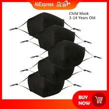 Для детей, партия из 5 пар черная маска для полости рта Регулируемый пыли PM2.5 4 Слои хлопковая маска для губ стираемые многоразового использо...