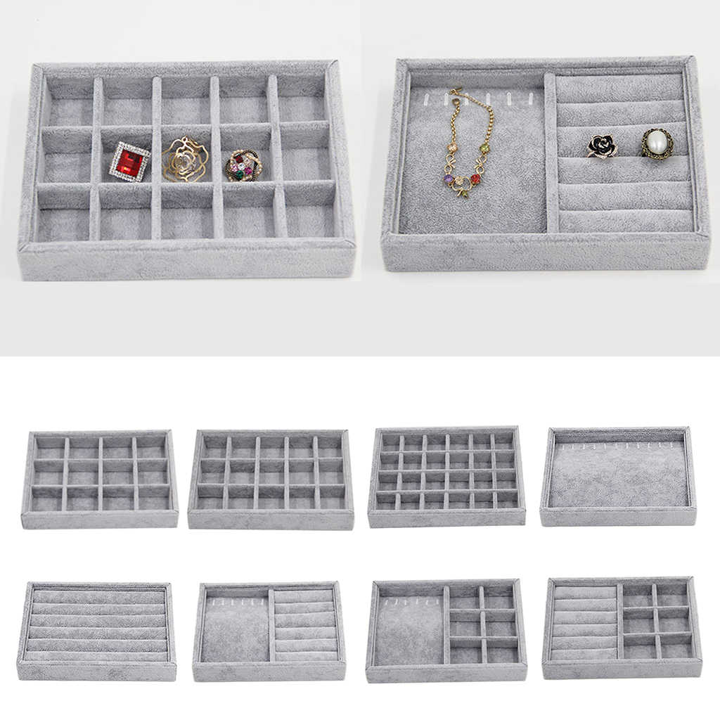 14-Inch Earring Jewelry Necklace Organizer Display Tray Case Box Holder Storage
