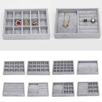 Velvet Rings Organizer Tray Jewel Display Case Holder Storage Box Container шкатулка для украшений
