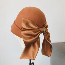 Vintage Elegant Wool Fedora For Women Female Fall And Winter 2021 New Style Oversized Bow Woolen Top Hat With High Quality(China)