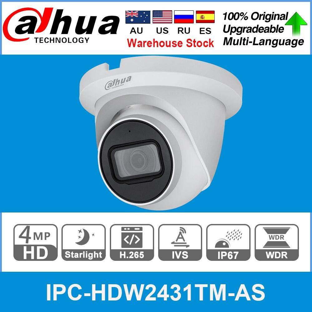 Dahua Original IPC-HDW2431TM-AS 4MP HD POE intégré micro fente pour carte SD H.265 IP67 30M IR Starlight IVS caméra IP dôme extensible