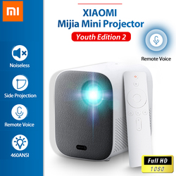 XIAOMI Mijia Projector TV 1080P Full HD Android Youth Edition2 DLP LED Bluetooth Mini IOT Remote Voice Noiseless Side Projection