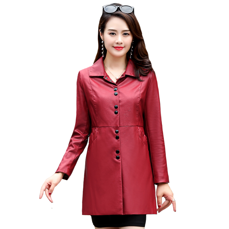 Leather Jacket Women Plus Size  6XL 2019 Autumn Winter Black PU Jackets High Quality Faux Long Coat
