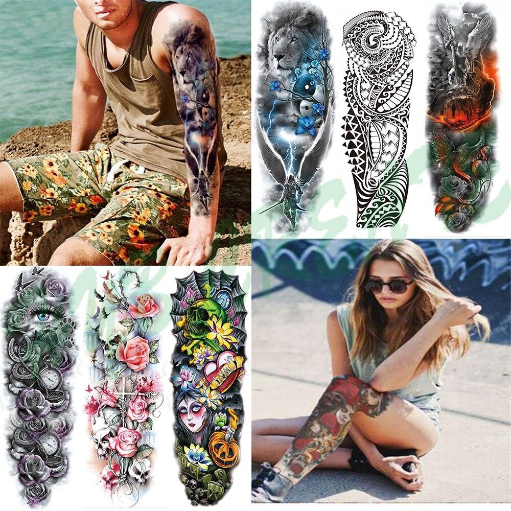 Waterproof Temporary Tattoo Sticker Eye Clock Bird Pagoda Full Arm Large Size Fake Tatto Flash Tatoo Sleeve Tato For Men Women