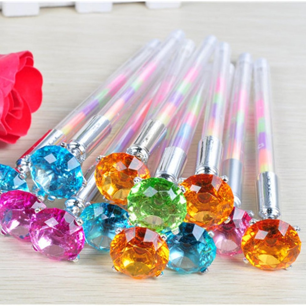 10PCS Cute Kawaii Crystal Ball Pens Ballpen Trendy Large Diamond Ballpoint Pens Korean Pens For School Stationery Office Supplie