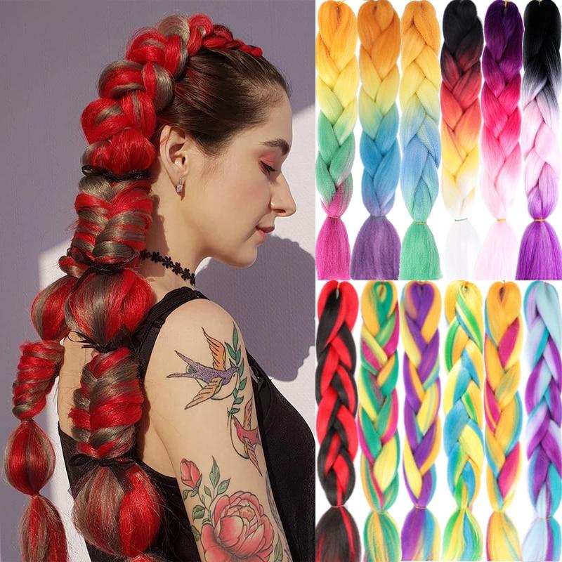 MUMUPI Ombre Afro Box Braiding Hair Jumbo Braids Synthetic Hair For Crochet Braids False Hair Extensions Headwear