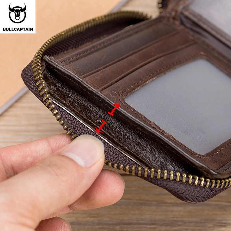 Bullcaptain Retro RFID ซิปช่องผู้ชายกระเป๋าสตางค์ผู้ถือบัตรเครดิต RFID Anti-Theft หนังผู้ชายกระเป๋าสตางค์