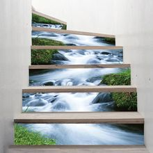 6pcs/set 3D Water Stream Staircase Stair Riser Floor Sticker Self Adhesive DIY Stairway Waterproof PVC Wall Decal Home Decor цена 2017