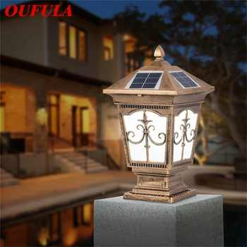 OUFULA Outdoor Solar Post Light Modern Patio Pillar LED Waterproof Lighting For Lawn Garden Fence Gate Porch Courtyard - DISCOUNT ITEM  32 OFF All Category
