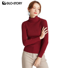 GLO-STORY Casual Basic Solid Women Turtleneck Sweaters Ribbing Long Sleeeve 2019 Autumn Winter Knitted Tops Female 6888(China)