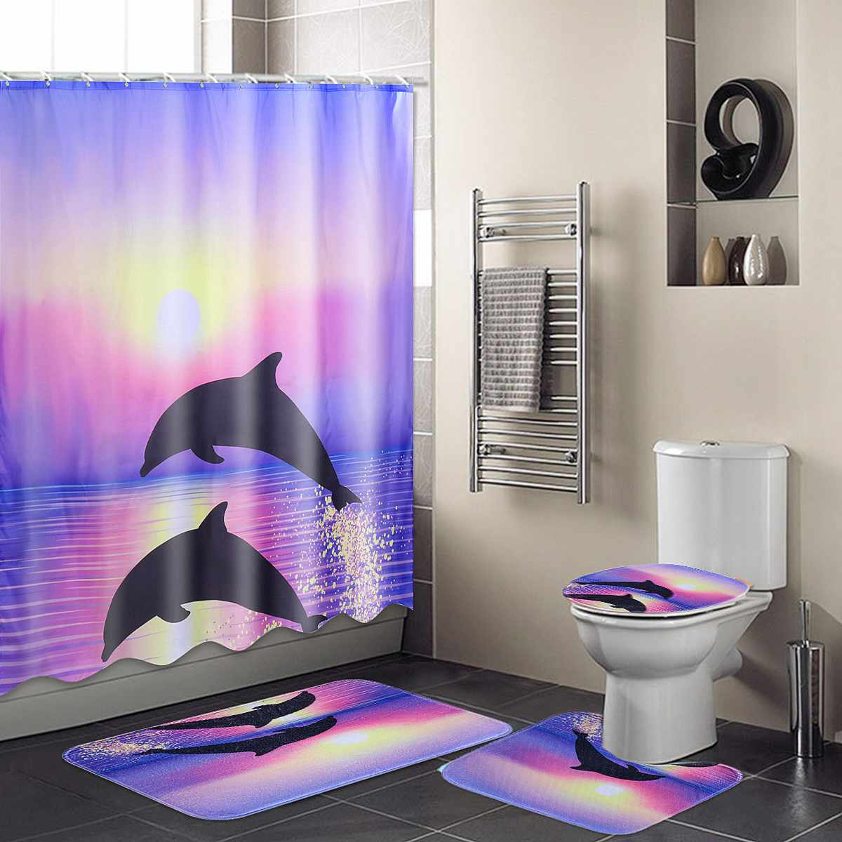 Dolphin Waterproof Bathroom Shower Curtain Toilet Cover Mat Non-Slip Rug Set