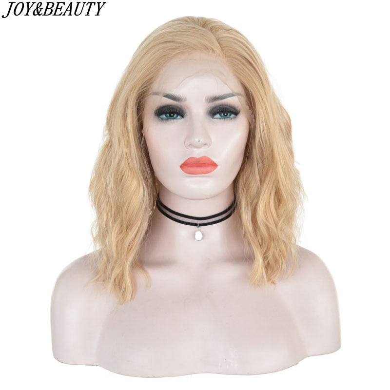 JOY&BEAUTY Synthetic Lace Front Wigs Blonde Natural Wave Short Bob Wigs Shoulder Length Deep Invisible 14 Inch For Women