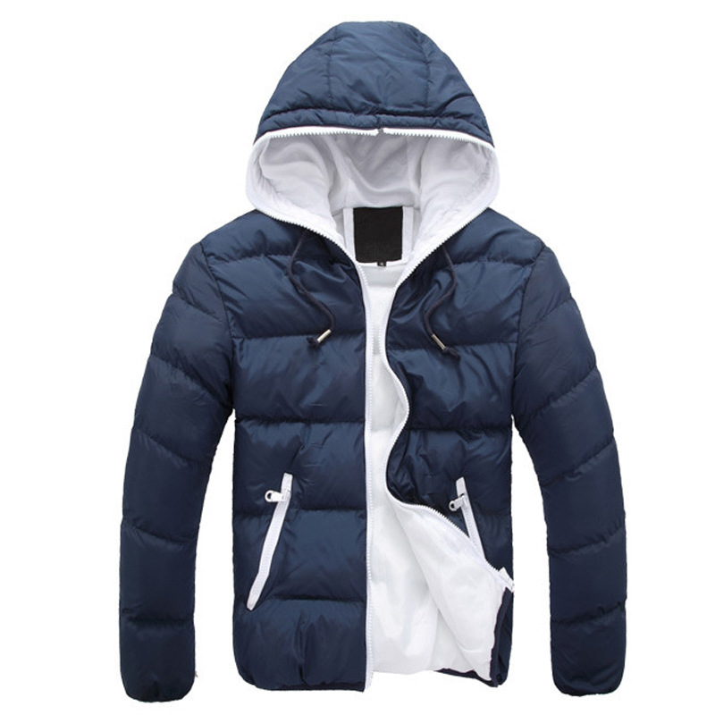 New Fashion Trend Hooded Down Jacket Parkas Youth Handsome Cotton Thick Coat Men Winter Cotton Parkas Men's Casual Warm Jacket