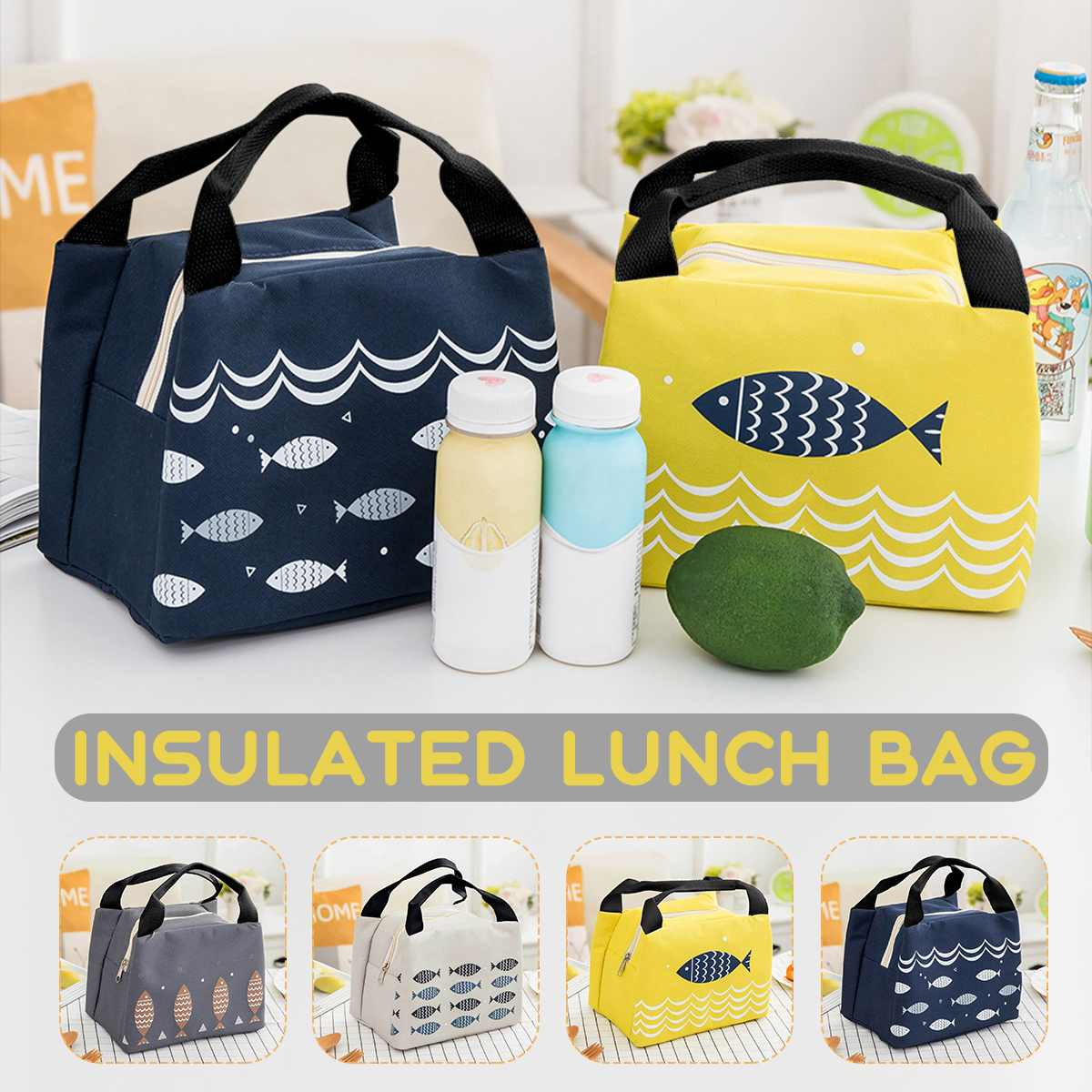 1pcs Portable Lunch Bag Thermal Insulated Picnic Lunch Box Tote Cooler Handbag Bento Pouch Dinner Container Food Storage Bags