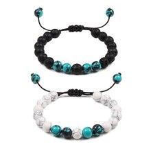 Пары расстояние браслет из натурального камня Голубой Бирюзовый Лава камень Инь Ян бисером Плетенный браслет для мужчин подарки для лучшего друга