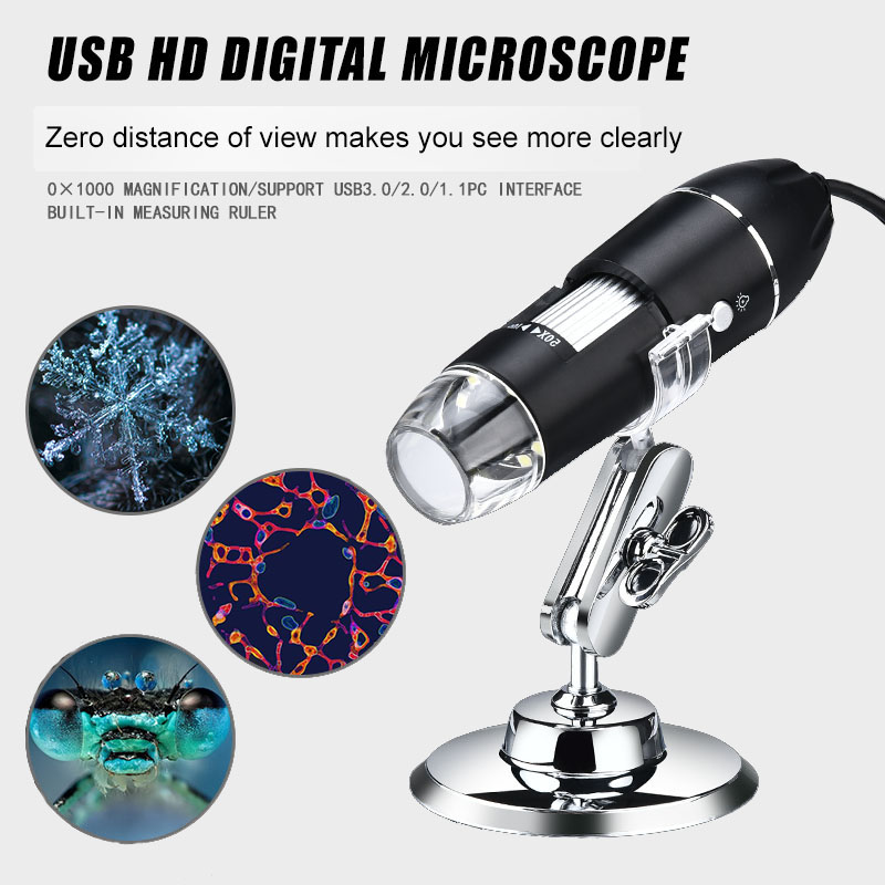 Digital Microscope Magnifier Stand 1600X 8 Led Electronic USB with for PC Adjustable