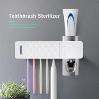 2 In 1 UV Bathroom Set Toothbrush Sterilizer Toothbrush Holder Automatic Toothpaste Squeezers Dispenser bathroom accessories|Toothbrush & Toothpaste Holders| |  -