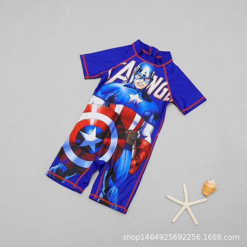 2020 CHILDREN'S Swimwear BOY'S Baby Cartoon Bathing Suit America Captain Surfing Jumpsuit Short Sleeve