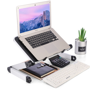 Image 2 - Aluminum Alloy Laptop Portable Foldable Adjustable Laptop Desk Computer Table Stand Tray Notebook Lap PC Folding Desk Table