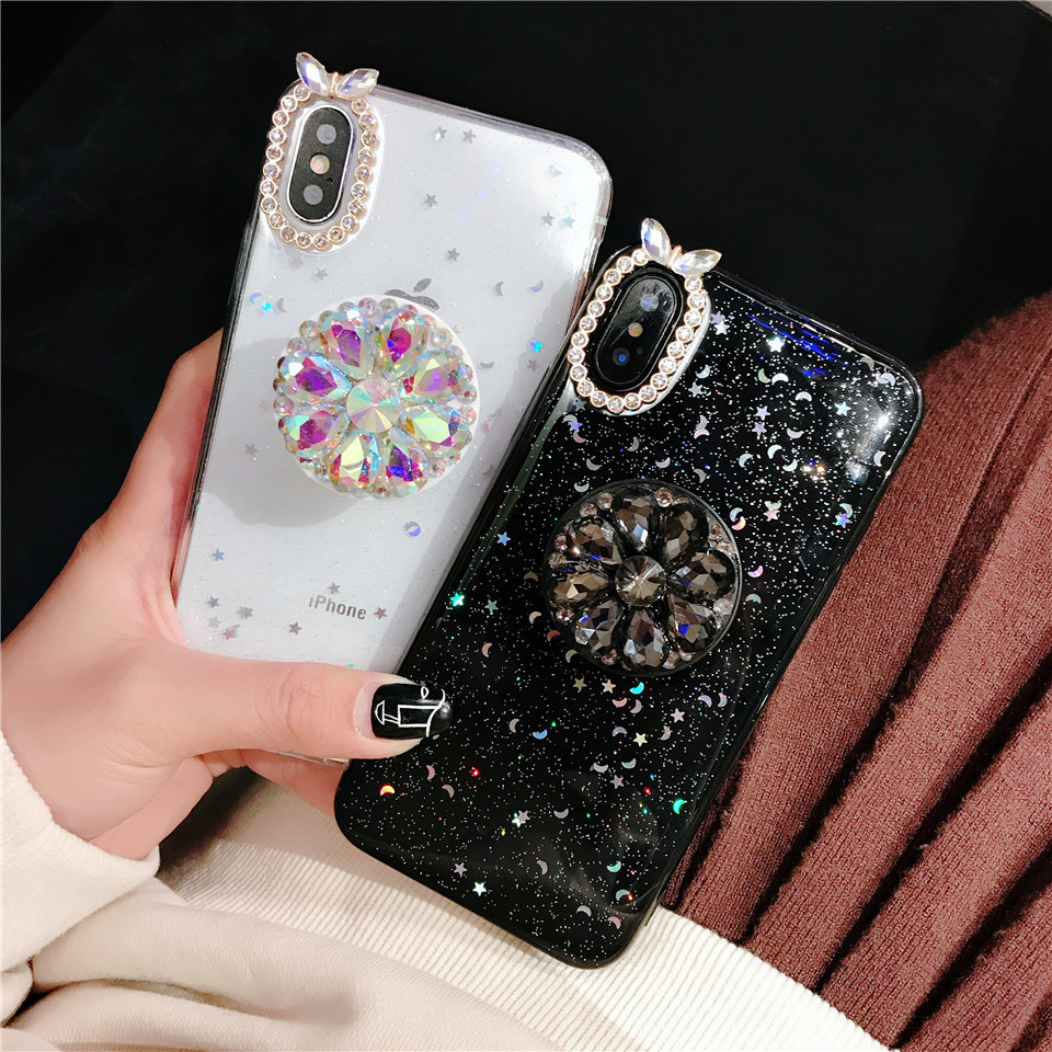Beautiful phone back cover fundas with Jewelled holder For Apple iPhone X XS MAX 8 plus 6 7 XR cases