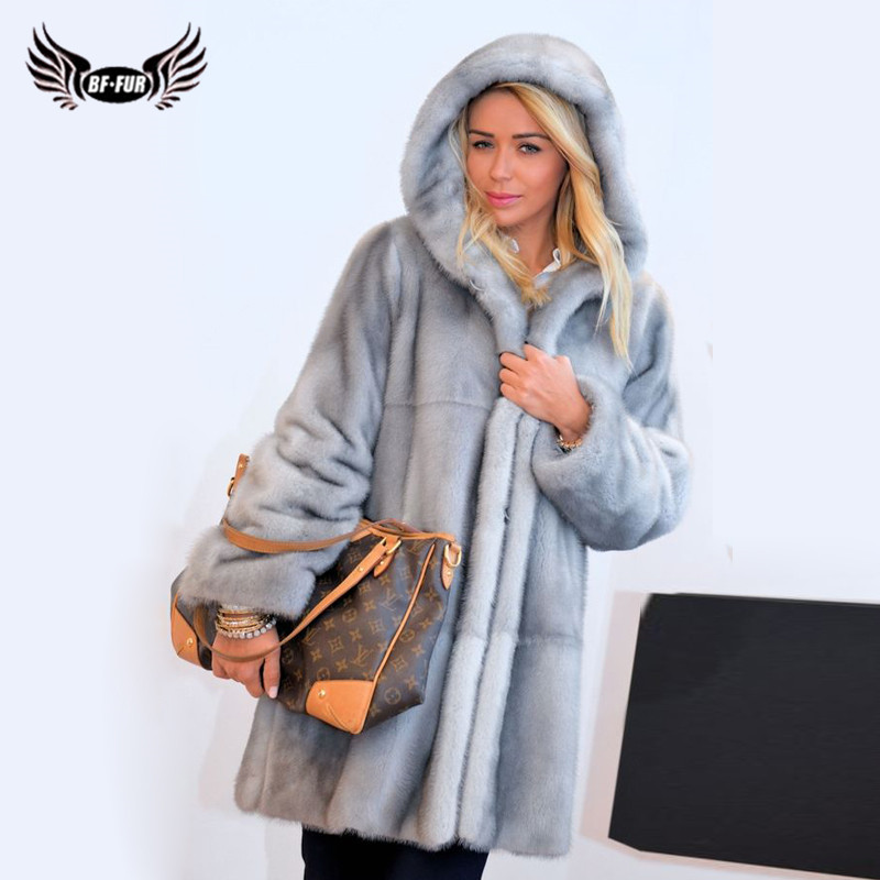 Fashion New Women Real Mink Fur Coat With Hood Wholeskin Genuine Mink Fur Coat Long Natural Fur Coats Woman Plus Size Overcoats