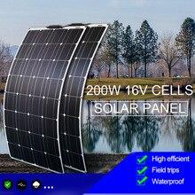цена на 100W 200W high efficiency flexible battery charger solar panel 12v for solar panel home system kit