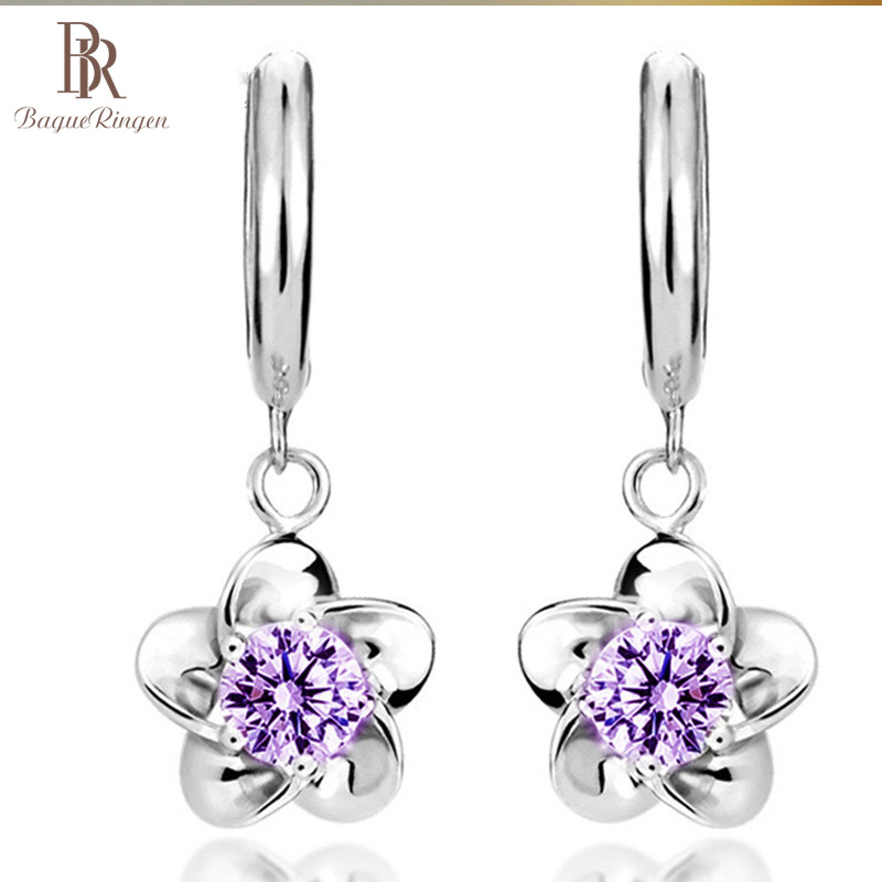 Bague Ringen Gentle Plum Blossom Earrings For Women Temperament Silver 925 Jewelry With Zircon Simple Style Eardrops Dating Gift