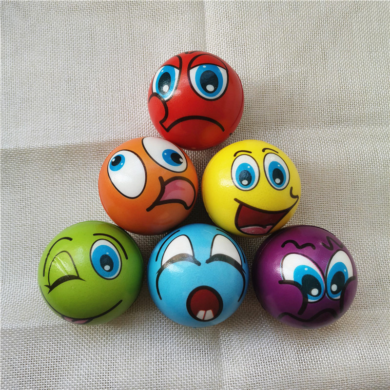4pcs 6.3cm Funny Smiley Face Grimace Stress Balls Foam PU Balls Squeeze Anti Stress Balls Toys For Kids Children
