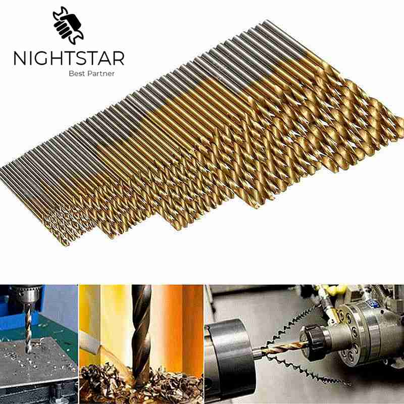 50Pcs 1/1.5/2.0/2.5/3mm Titanium Coated Twist Drill Bit High Steel  Aluminum HSS Drill Bit Set For Woodworking Plastic