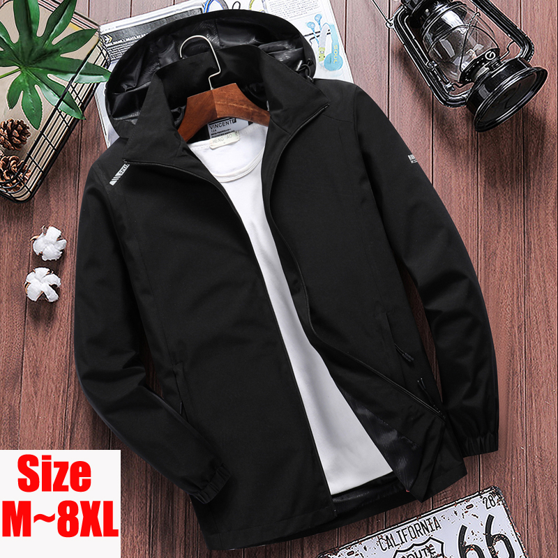 Big Size 7XL 8XL Spring Men's Thin Waterproof Jacket Male Summer Casual Overcoat Windbreaker Coat Mens Breathable Hooded Clothes