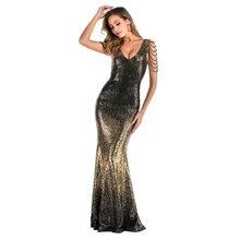YIDINGZS V neck Gold Sequins Prom Dress Women Elegant Beading Long Evening Party Dress YD16180
