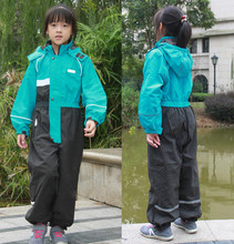 Çocuk yağmurluğu su geçirmez bebek tek parça nefes kapşonlu rainwear erkek kayak takım elbise rüzgar geçirmez kızlar genel tulum