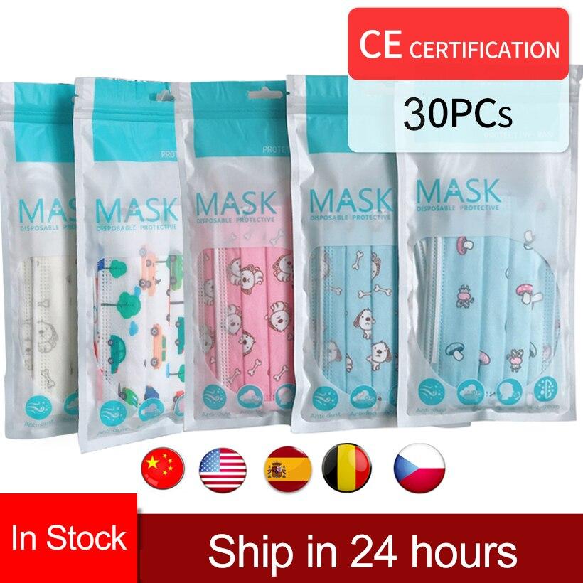 Moledodo 30pcs/10pc Children Mouth Masks Cartoon Disposable Mouth Mask Prints Cute Boy Girl Breathable Masks Sunscreen Face Mask