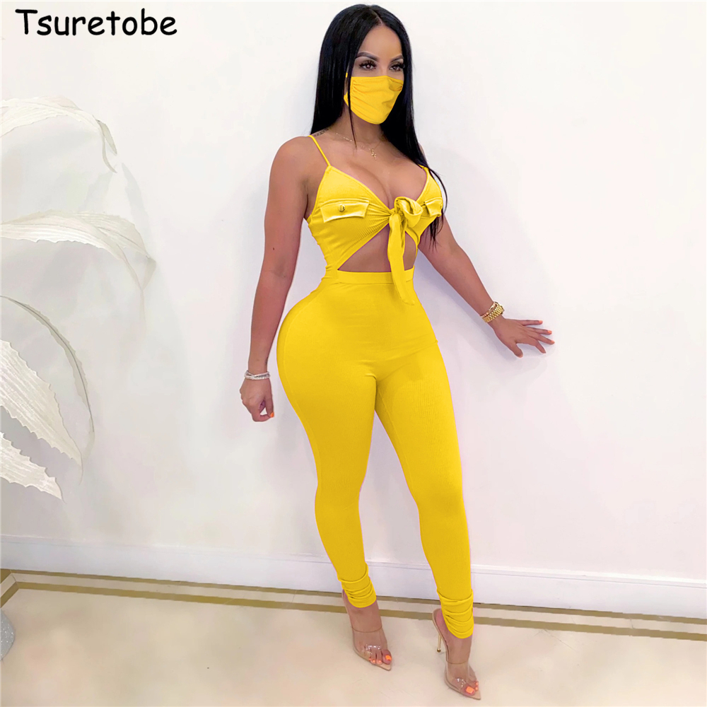 Tsuretobe Hollow Out Jumpsuit Women Summer 2020 Beach Romper Bandage Sexy Women Clothing Party Club Vacation Outfits For Women
