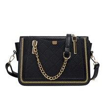 Роскошные заклепки сумки Для женщин сумка дизайнерский бренд металлической цепью сумка Повседневное PU кожаная сумка через плечо