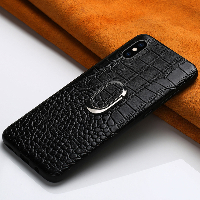 $ US $11.58 Genuine Leather Magnetic bracket phone case for iphone 11 11 Pro max 7 6 8 Plus XS XR All inclusive business for iphone x case