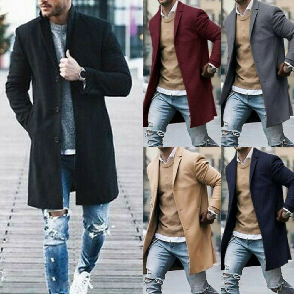 Men Cotton Coat Winter Trench Solid Color Overcoat Long Sleeve Jacket H9