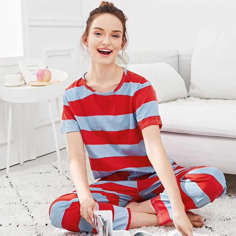 Summer Pajamas WOMEN'S Short Sleeved Trousers Set Red And Blue Stripes M-XXL (13 Yuan) 110 Grams 2019 New Style