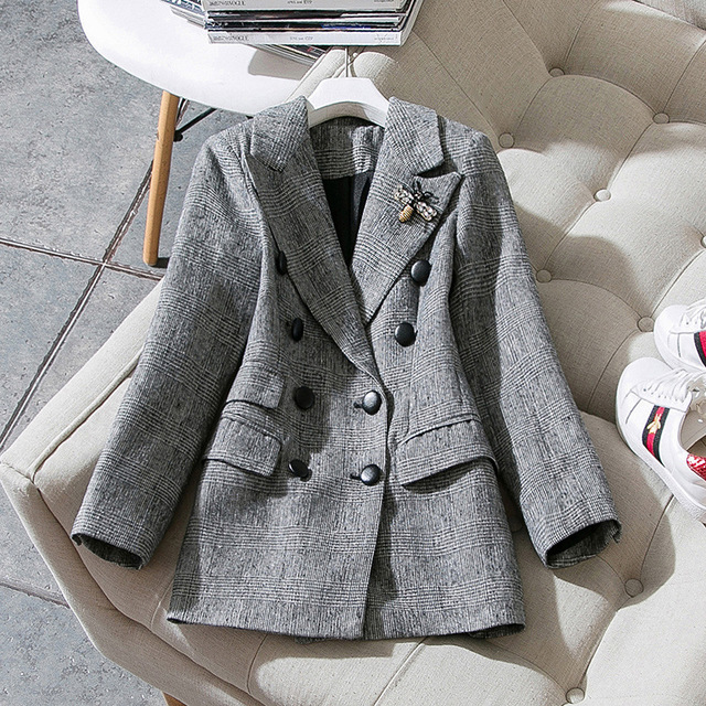Vintage Long Blazer Women 2020 Autumn Winter Wool Slim Double Breasted Plaid Houndstooth Jackets Coats Large Plus Size Outwear