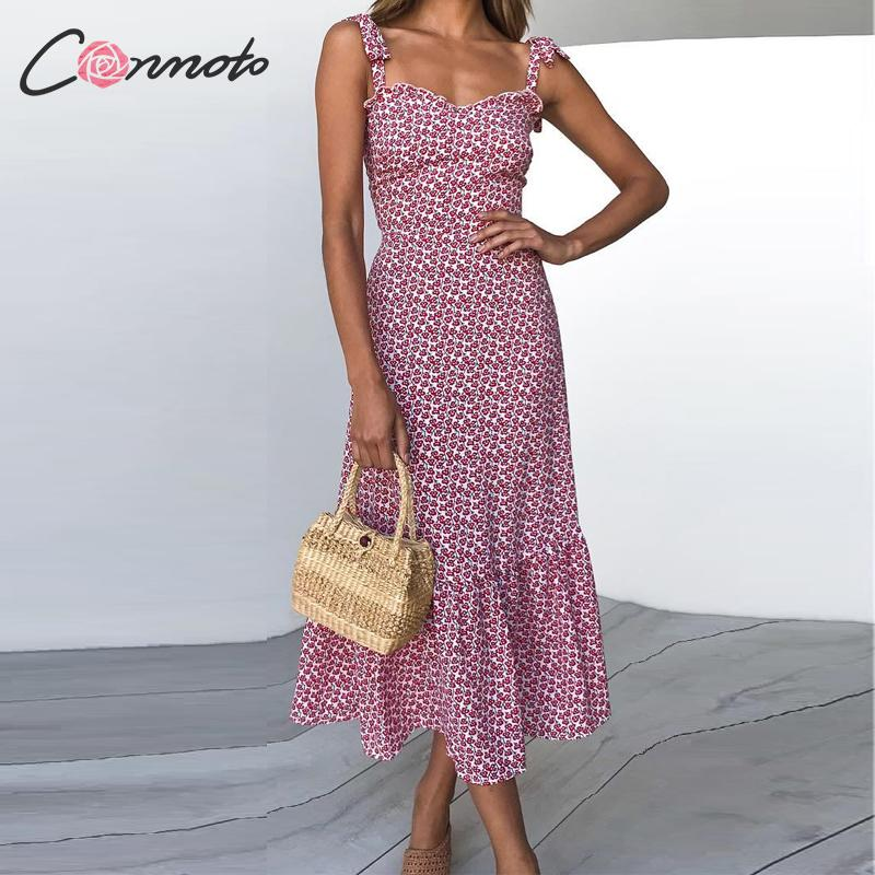 Conmoto 2019 Print Ruffles Mid Summer Dress Women Casual Twist Party Dress Strapless Print Beach Princess Long Dress Vestidos