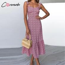 Conmoto 2019 impressão babados meados de verão vestido feminino casual torção vestido de festa strapless imprimir praia princesa vestido longo